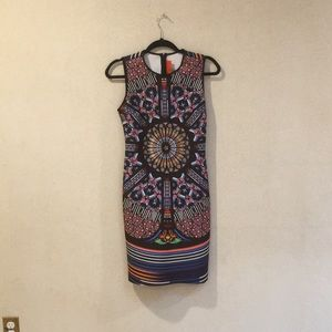 Multi Colored Midi Dress Stained Glass Design